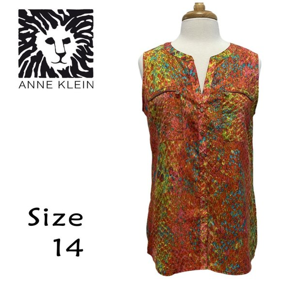 Anne Klein Colorful Sleeveless Blouse Size 14